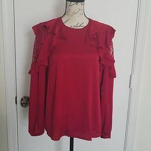 Worthington red silky blouse S